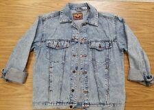 Men's Vintage Blue Jean Denim Jacket Stone Acid Wash 80's Aviation USA Team Med