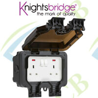 Knightsbridge IP66 13A 2G DP Switched Socket with Neons Weatherproof Outdoor