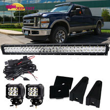 "32"" Led Work Light Bar +(2)Cube Pods+Wiring Kit Roof Bumper Fog Driving Ford"