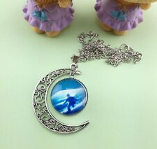 Glass Galaxy Planet Crescent EXPLORER Moon Pendant Necklace UK Seller