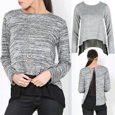 Womens Cut Back Double Layer Keyhole Ladies Hi Lo Dip Hem Chiffon Vest Knit Top