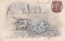 Easter Beautiful Glamour Girl with Rabbit old French Postcard 1903s