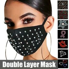 Luxury Rhinestone Crystal Sequin Bling Fashion Reusable Washable Face Mask Cover