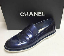 Chanel 16P CC Logo Navy Blue Patent Leather Mocassins Loafers Flats Shoes 37