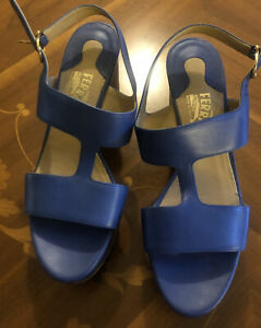 Salvatore Ferragamo Fiamma women's Blue peep toe  leather wedges size 8.