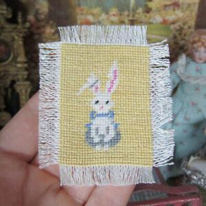 Vtg Artisan Dollhouse PETIT POINT BUNNY MAT Needlepoint BABY RUG Nursery Blanket