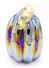 """New Large 9"""" Hand Blown Art Glass Blue Luster Pumpkin Sculpture Harvest Fall"""