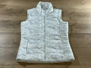 Straight Down Women's Quilted Vest Ivory/Grey Size XS ( W10142 ) NWT!!!