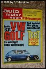 AMS Auto Motor Sport 16/74 BMW 3.3L Bricklin BMW 320 VW Golf