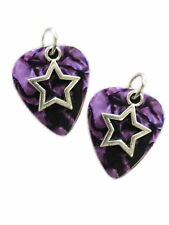 DEEP PURPLE GUITAR PICK w/ STAR CHARM EARRINGS PICKS