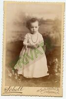 Cabinet Photo - Very Cute Baby Standing, Necklace & Bracelet - Curly Hair
