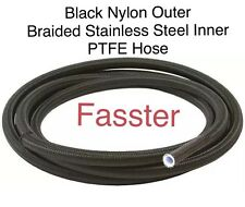 -6 AN Black Nylon PTFE Hose W/ Stainless Steel Inner Core E85 Compatible