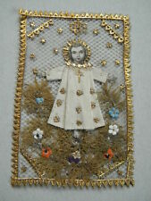 c1900 JESUSKIND IHS KLOSTERARBEIT Heiligenbildchen Wallfahrt Canivet holy card