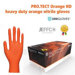 Orange Nitrile Gloves PRO.TECT Heavy Duty Grip Textured Automotive Mechanics