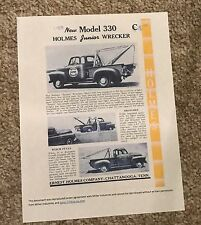 1953 Ernest Holmes 330 Junior wrecker tow truck sales brochure 2 page