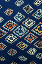 SALE! Blue Orange Camellia Diamonds Vintage Japanese Kimono Silk Fabric 64""