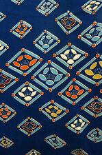 "SALE! Blue Orange Camellia Diamonds Vintage Japanese Kimono Silk Fabric 64"""