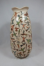 "MATA ORTIZ bird pottery - MARIBEL LOPEZ - ESTATE - LARGE 12 1/2"" X 7"""