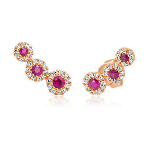 14k Rose Gold Natural Round Cut Red Ruby Diamond 3 Stone Stud Pushback Earrings