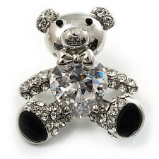 Cute CZ Teddy Bear Brooch (Silver Tone)