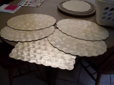 Lot of 4 + 1 Vintage  Shell-Craft Oval Placemat Mother of Pearl Cork Back