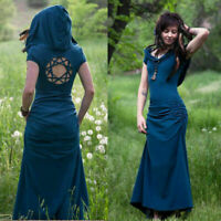 Summer Women Gothic Medieval Vintage Hooded Long Pixie Dress Cosplay Dress Maxi
