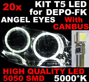 N° 20 LED Lamps T5 SMD 3 Chips White 5000K Spare Parts For Lights Angel Eyes