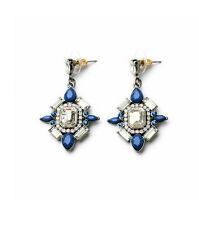 Exquiste Anthropologie Maddie Rox Blue White Beaded Drop Earrings