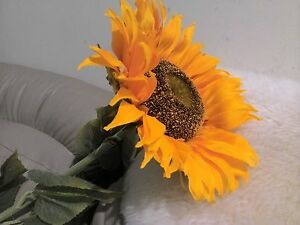 2x (3.5ft) Artificial Silk Sunflower stems Flowers For Home Decoration