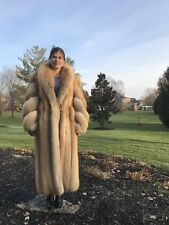 Stunning Golden Island Fox Fur Coat Full Length Authentic