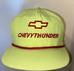 Vintage Chevy thunder Chevrolet SnapBack Cap Hat Neon Yellow Rope