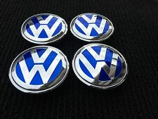 FOR VOLKSWAGEN 4PC SET BLUE  65mm CENTER WHEEL HUB CAPS VW CHROME 3B7601171