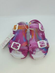 NEW Swiggles Toddler Girl's Sandals Double Buckle Pink Tie Dye Size L (9-10)