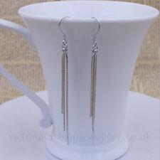 Simple Tassel Earrings In 925 Sterling Silver Plate, 55mm Hook Drop Dangle 5.5cm