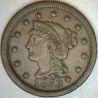 1853 Braided Hair Liberty Head Large Cent US Copper Type One Cent Coin Fine K37