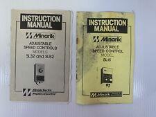 Minarik SL32 SL52 SL15 Adjustable Speed Control Manuals Lot of 2