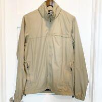 REI Co-op Men's Medium M Beige Lightweight Full Zip Jacket Hidden Hood