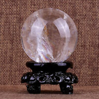 40-60MM Natural Quartz Clear Crystal Ball Healing Reiki Gemstone Sphere + Stand