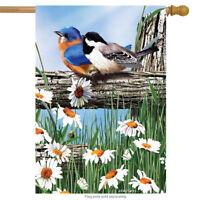 "Spring Break Birds House Flag Bluebirds Chickadee Daisies 28"" x 40"""