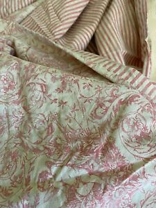 Nancy Koltes Linen Muted Red Beige Medallion Floral Striped Twin Duvet cover