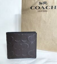NWT Coach F75363 Men's Bifold Coin Pocket Signature Wallet Mahogany 175 with Box