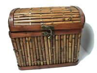 Vintage Bamboo Asian Themed Woven Basket Wicker Rattan Handles Brass Hinged Lid