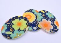 Vintage Flowers Oval Blue Green Cameo Cabochon 30 X 40 mm