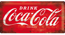 Coca Cola Logo Schriftzug Blechschild 50cm x 25cm geprägt Neu Retro