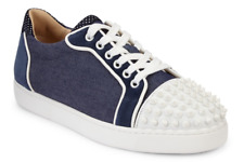 NIB Christian Louboutin Vieira Spikes Flat Blue Denim Lace Low Top Sneaker 37.5