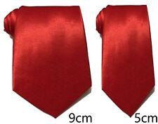 Rouge Uni Cravate Satin Skinny Classique Mariage Affaires Bal UK