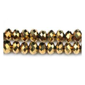 Golden Czech Crystal Beads Faceted Rondelle 4 x 6mm Strand Of 90+