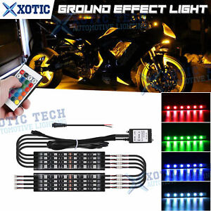 8x RGB Motorcycle LED Light Accent Under Glow Neon Strip For Harley Honda Yamaha