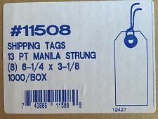 """#8 Manilla Tags With Strings 11508 6 1/4"""" x 3 1/8"""" Case of 1,000"""