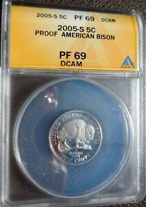 2005-S PROOF AMERICAN BISON NICKEL, ANACS PF69 DCAM, DEEP CAMEO